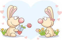 Rabbits on Valentine's Day Stock Image
