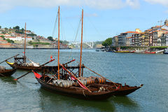 Rabelo łódź, Porto, Portugalia Zdjęcia Stock