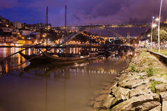 Rabelo Boats On Douro River In Porto By Night Stock Photography