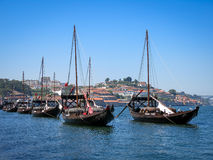 Rabelo boats on Douro River, Porto royalty free stock photography