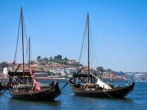 Rabelo boats on Douro River, Porto Stock Image