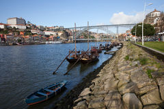 Rabelo Boats on Douro River in Portugal Royalty Free Stock Photo