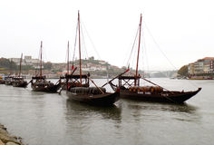Rabelo Boats on Douro River, a Rainy Day in Porto Royalty Free Stock Images