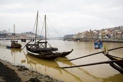 Rabelo Boats In Douro River Stock Photos