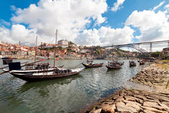 Rabelo boats in Porto, Portugal Stock Images