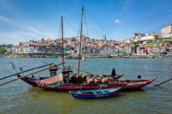 Rabelo Boats in Porto, Portugal Stock Image