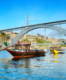 Rabelo boats in Porto, Portugal Royalty Free Stock Photo