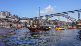 Rabelo Boats, Ribeira District and Dom Luis I Bridge in Porto stock footage