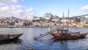Rabelo Boats, Ribeira District and Dom Luis I Bridge. Porto, Portugal stock video footage