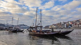 Rabelo Boats and Ribeira District. Porto, Portugal stock video