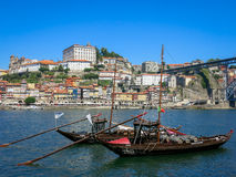 Rabelo boats and Ribeira in Porto Stock Photography