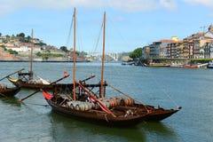 Rabelo fartyg, Porto, Portugal Arkivfoton