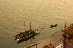 Rabelo wine boats, Porto, Portug Stock Photography