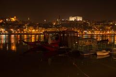 Rabelos de Barcos no rio de Douro Fotografia de Stock