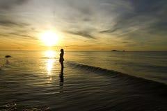 Rabiate golden swash traveler. Sunrise radiate golden swash traveler at Nava Gorn beach, Prachuap Khiri Khan country Thailand Royalty Free Stock Image