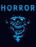 Rabid zombie in blue color. Vector illustration. Stock Photo