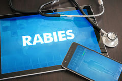 Rabies (infectious disease) diagnosis medical concept on tablet. Screen with stethoscope Royalty Free Stock Photography