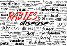 Rabies - viral incurable disease of humans and animals. Health care word text block. Stock Image
