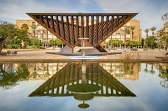 Rabin Square. Monument to Holocaust victims in Rabin Square in Tel Aviv, Israel. The assassination of Yitzhak Rabin occurred here in 1995 and it is the site of