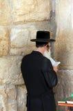 Rabino en la pared occidental, Jerusalén Foto de archivo libre de regalías
