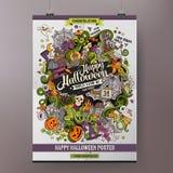 Rabisca a mão feliz colorida de Dia das Bruxas dos desenhos animados Fotos de Stock