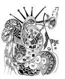 Rabisca a música da arte no oceano Ilustração Royalty Free
