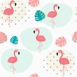 Rabiscar as folhas tropicais pasteis do verão e o fundo sem emenda do teste padrão cor-de-rosa do flamingo ilustração royalty free