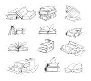 Rabiscar, grupo tirado mão do vetor dos livros do esboço Imagem de Stock