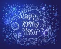Rabiscar a ilustração do ano novo em um fundo azul Foto de Stock Royalty Free