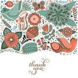 Rabiscar a ilustração dos elementos feita das flores e das ervas Imagens de Stock Royalty Free
