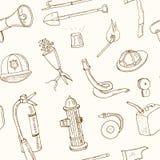 Rabiscar a ilustração sem emenda do vintage do teste padrão das ferramentas da luta contra o incêndio Fotografia de Stock