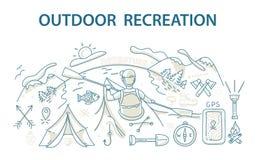 Rabiscar o conceito de projeto do estilo da recreação e do curso exteriores Foto de Stock Royalty Free