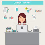 Rabiscar o conceito digital do mercado do negócio com editor satisfeito VE ilustração stock