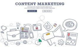 Rabiscar o conceito do estilo do projeto do mercado satisfeito, do mercado e da partilha do conteúdo digital Linha moderna ilustr ilustração royalty free