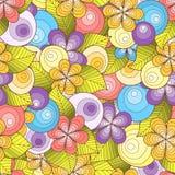 Rabiscar o fundo sem emenda no vetor com garatujas, flores e paisley Versão colorida Foto de Stock Royalty Free