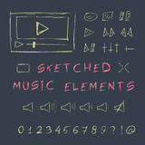 Rabiscar o grupo de elementos tirado mão da música, esboço ilustração do vetor