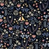 Rabiscar o teste padrão floral sem emenda com flores e pássaros Imagens de Stock Royalty Free
