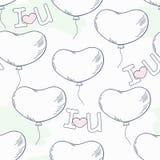 Rabiscar o teste padrão sem emenda com balões e letras do coração Imagens de Stock