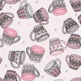Rabiscar o teste padrão sem emenda do estilo com copos de chá ilustração do vetor
