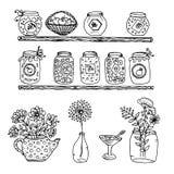 Rabiscar prateleiras de madeira com um potenciômetro do doce e um potenciômetro das flores e de um banco das flores, garrafa com  ilustração stock