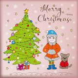 Rabiscar presentes da menina e do cão da neve da árvore do Feliz Natal do cartão ilustração do vetor