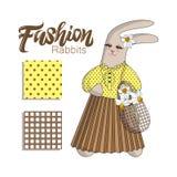 Rabit elegante del conejito de la moda en falda plisada en un fondo blanco Letras de la mano Conjunto de modelos inconsútiles libre illustration