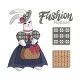 Rabit elegante del conejito de la moda en vestido azul en un fondo blanco Letras de la mano Conjunto de modelos inconsútiles libre illustration