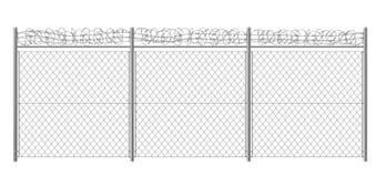 Free Rabitz Fencing With Razor Wire Realistic Vector Stock Photo - 149795600