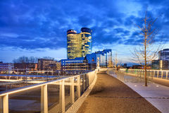 Rabo Bank Headquarters at twilight, Utrecht, Netherlands. UTRECHT-MARCH 2, 2017. View on Rabobank Headquarters. Dutch multinational banking and financial Stock Image