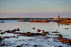 Rabocheostrovsk city, pier at sunrise. Russia, Karelia, the city Rabocheostrovsk, view of the pier Royalty Free Stock Photography