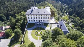 Rabstejn -城堡空中寄生虫地平线视图  库存图片