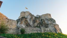 Rabsztyn城堡日落在波兰 库存照片