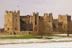 Raby-Schloss im Winter, England lizenzfreie stockfotos