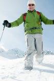 Racchetta che trekking nella neve Fotografie Stock Libere da Diritti